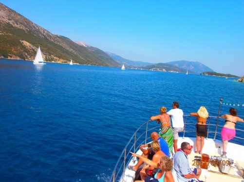 Looking from near the bow of the boat. The coastline of Lefkada stretching out in front. Meganisi also close by but mostly out of shot on the right side.