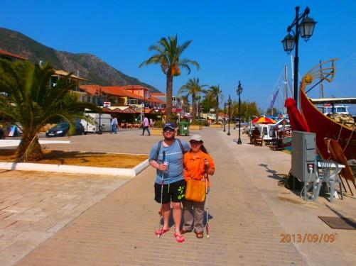Tony and Tatiana on the sea front promenade at Nidri.