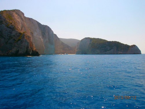 Tall white coloured cliffs of Zakynthos's south-west coast.