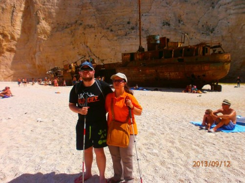 Tony and Tatiana in front of the rusted shipwreck of MV Panagiotis on Navagio Beach. This ship sunk on the shore around 1980.