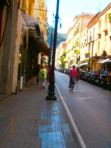 View along Corso Italia: Sorrento's central street, lined with shops.