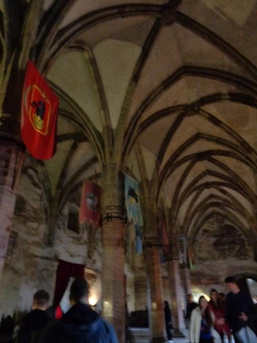 Knight's Hall: a large hall inside the castle with a vaulted ceiling.