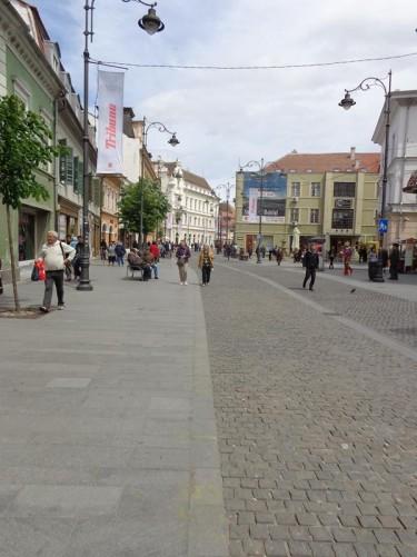 Looking towards a small square half way along Strada Nicolae Bălcescu.