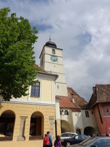 13th century Council Tower (Turnul Sfatului) seen from Little Square (Piață Mică). There are two passageways through the base of the tower to Grand Square.