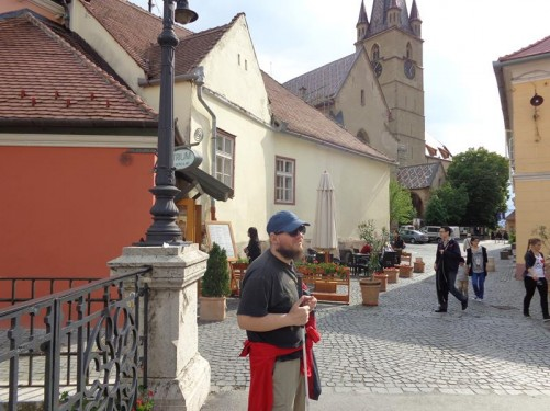 View of the Evangelical Lutheran Cathedral (Biserica Evanghelică) looking from Liar's Bridge.
