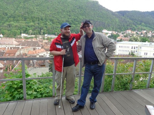 Tony with Stephan, again overlooking the town from Warthe Hill. Tony touching Stephan's cap.