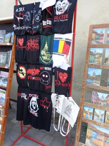 A stall selling Dracula t-shirts and water-colour paintings of the town in Museum Square.