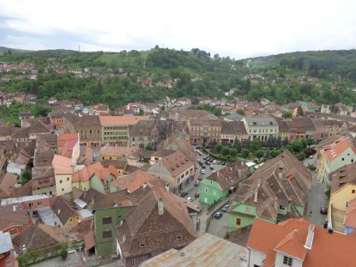 View over the red-tiled roofs of the old town from the Clock Tower.