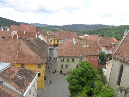 Looking into Museum Square from the Clock Tower. Part of the Dominican Monastery Church visible to the right.