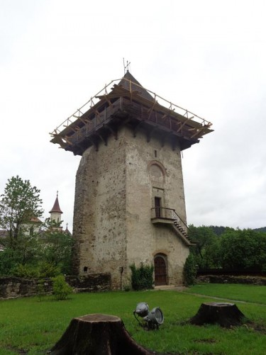 A stone watch tower at Humor Monastery. The tower was built in 1641. Humor monastery was forced to close in 1786 by the Austrian administration of Bucovina, but reopened again 1990.