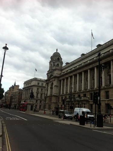 Government buildings along Whitehall, including the Old War Office on the right side.