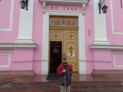 Tony outside the main doorway into the Holy Spirit Orthodox Cathedral.