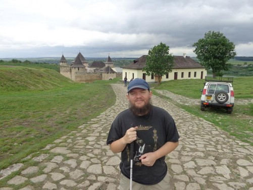 Tony on a stone paved road leading to Khotyn fortress.