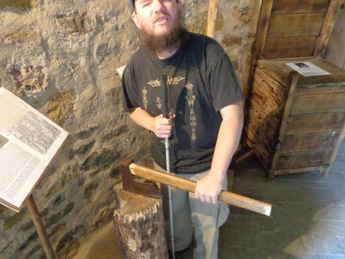 Tony holding an executioner's axe. This one was apparently actually used to behead prisoners!