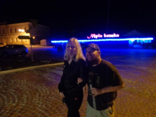 Evening. Tony with a Ukrainian lady who worked at the hostel in Kamianets-Podilskyi.
