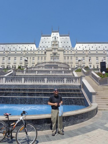Another view of Tony by the fountain with the impressive front façade of the Palace of Culture above.
