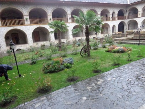 Another view of the Caravansarai's courtyard. The building itself is built on two storeys with rooms opening on to the central courtyard. Today part of the building is used as a hotel.