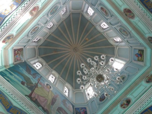 Inside the Alexander Nevsky Church looking up into the central dome. This Russian Orthodox church was built in 1887.