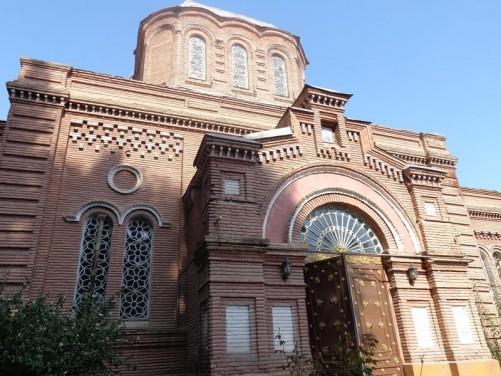 Front façade of the Alexander Nevsky Church, built of brick.