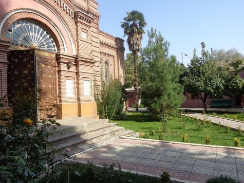 Pleasant garden in front of the church.