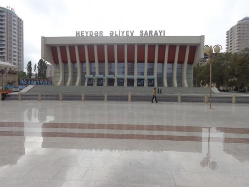View from Heydar Aliyev Park to the front of the Heydar Aliyev Palace.
