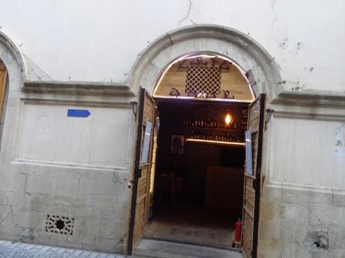 Looking through a door into a café-bar in Baku's Old City.