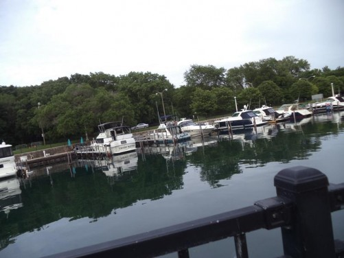 View of Belmont Harbour with small boats moored.