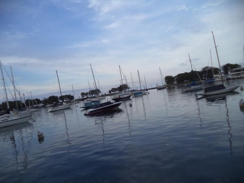 Another shot across Belmont Harbour towards Lake Michigan. Many small yachts anchored.