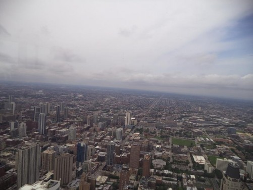 Excellent view inland (west) from the observatory on the 94th floor of the John Hancock Center.
