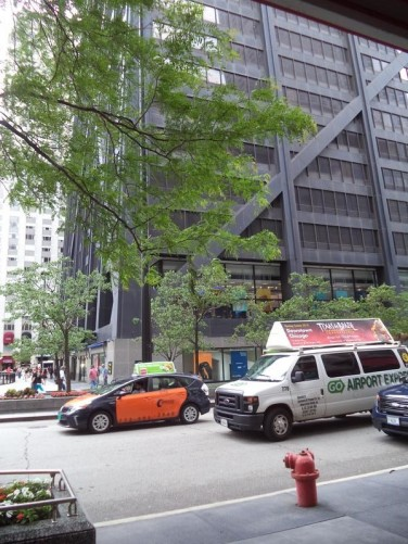 The John Hancock Center at street level.