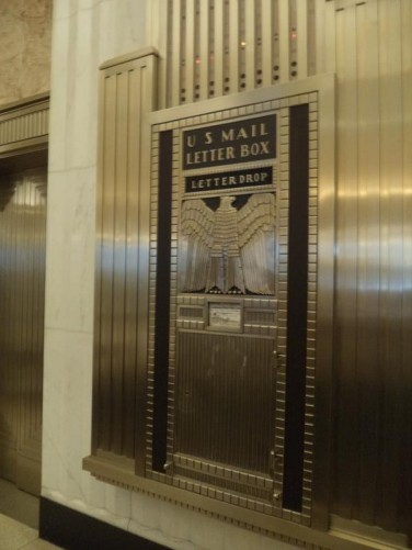 A large Art Deco US Mail Letter Box inside the Bank of America Building.