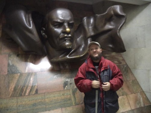 Tony in the hall of Plošca Lienina (Lenin Square) metro station in front of a bust of Lenin. This metro station links with Independence Square via an underpass.