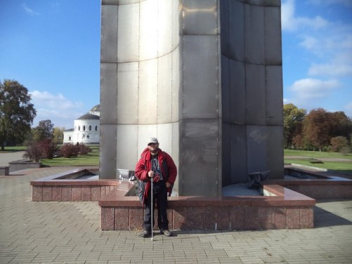 Tony at the base of the obelisk, which is constructed of steel with titanium plate. It is intended to resemble the bayonet of Russian Mosin rifle.