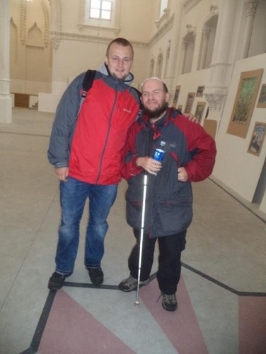 Tony with a local Belarusian guy inside the Great Synagogue.
