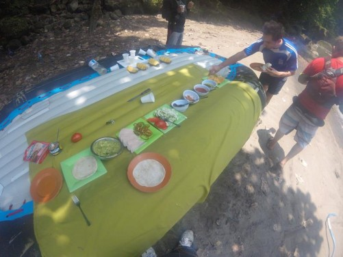 Lunch laid out on the back of the raft.