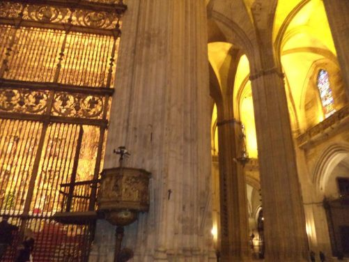 Looking towards the High Altar inside the cathedral. A pulpit stands immediately in front.