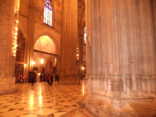 Massive stone columns inside the cathedral.