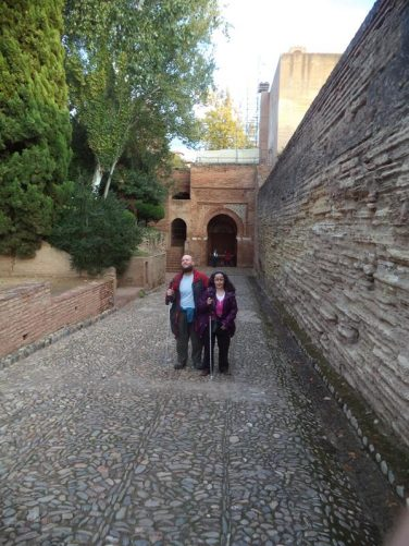 Tony and Tatiana with the Gate of Justice behind. This is the most impressive of the Alhambra's four gates. It was built in 1348 by Yusuf I.