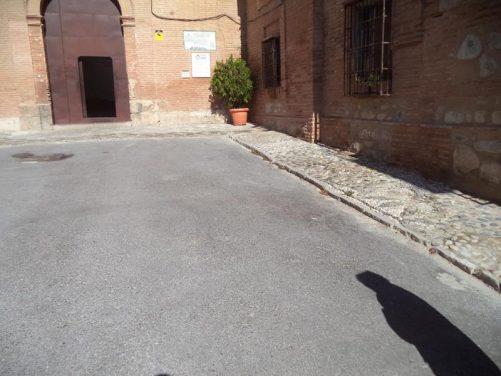 Looking towards a doorway at Sacromonte Abbey.