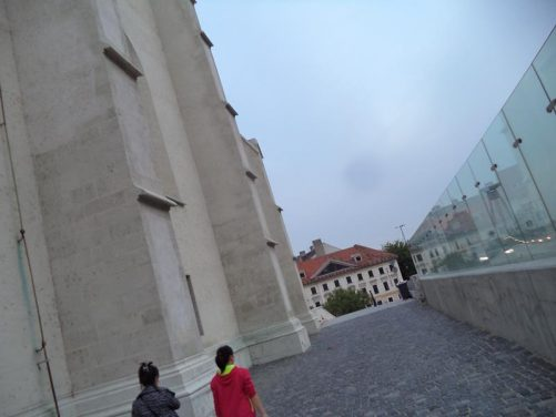 At the side of St. Martin's Cathedral (Dóm svätého Martina), which is located on the eastern edge of Bratislava's 'Old Town'. Taken from the small, narrow cobbled Kapitulska Street.