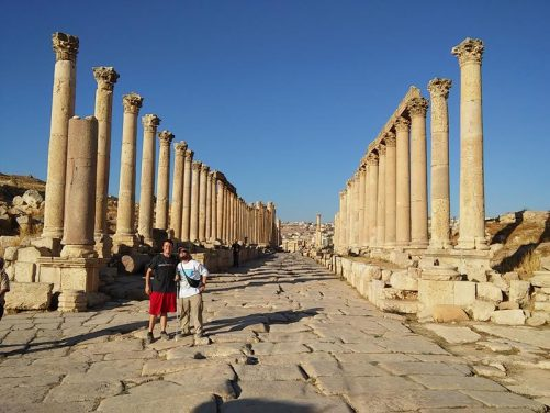 Tony and Brent part way along the Cardo. Two long rows of tall stone columns lining the street.