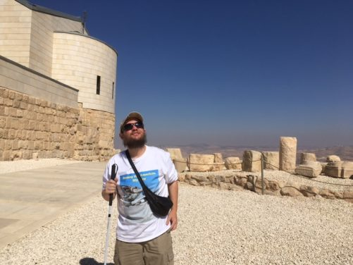 Outside the Moses Memorial Church at Mount Nebo. The church is modern but was built on the site of a Byzantine church and monastery. Today the church is part of a functioning Franciscan monastery.