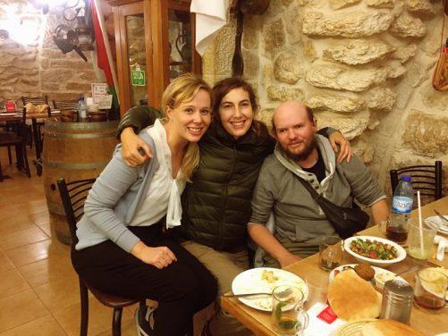 Jo, Almudena and Tony in restaurant in Bethlehem.