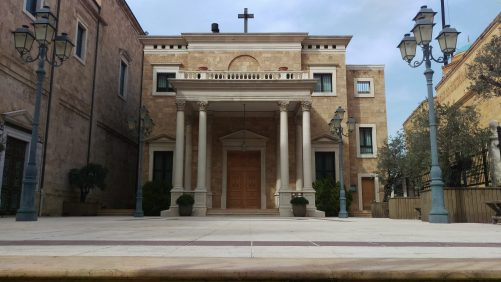 Entrance of the Maronite Cathedral of St George, Emir Bechir Street, downtown Beirut. The neoclassical façade of this late 19th-century cathedral is next to the Mohammed Al Amin mosque.