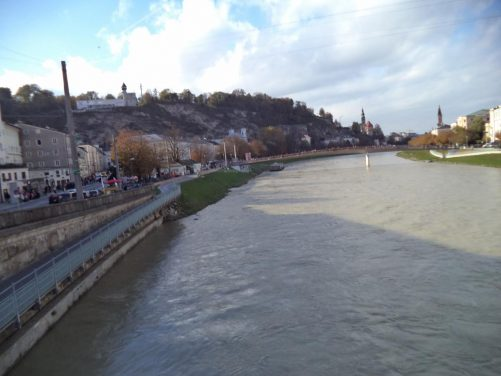 Looking along the Salzach river from Staatsbrücke (