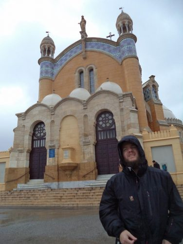 Tony at Notre Dame d'Afrique. This Roman Catholic basilica was built in 1872.  It is a prime example of the neo-Byzantine architectural style.