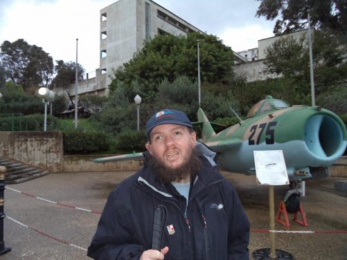 Tony in front of an old Russian fighter jet at the Algeria Army Museum (Musem de l'Armee).