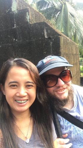 Tony with Princess May, his couchsurfing friend from the Philippines.