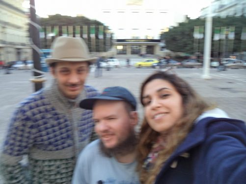 Again in front of the National Theatre of Annaba. Tony with Amel, an Algerian lady from Annaba and her husband, Sidali, originally from Tipasa. Tony stayed with them in Annaba.
