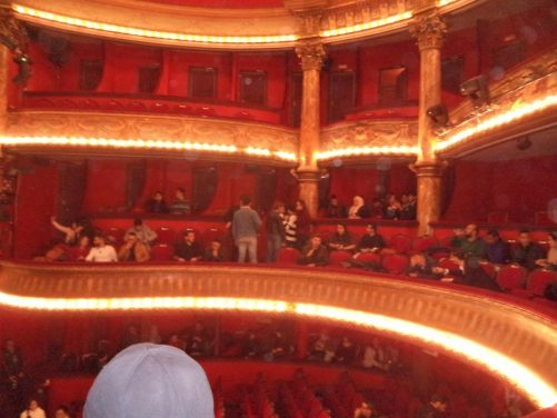 Inside Theatre Regional de Constantine. Tony visited with friends, made via couchsurfing, to enjoy a live performance by BB Blues, a local blues band.